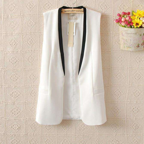 Contrast V Neck Long Women Vest Coat