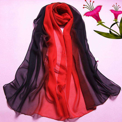 Scarf Gradient Colors Georgette Female Silk Scarves