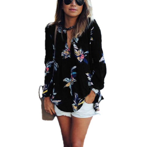 Floral Long Sleeve V Neck Regular Top Black