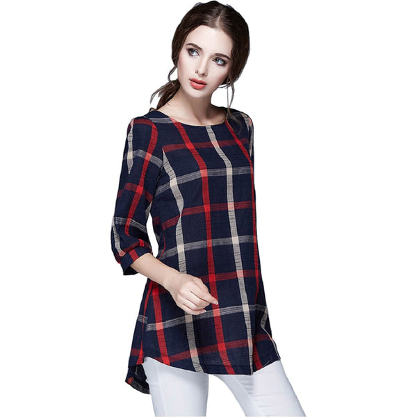 Three Quarter Sleeve Casual Vintage O Neck Top