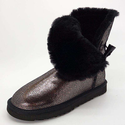 Classic Waterproof Cowhide Genuine Leather Snow Boot