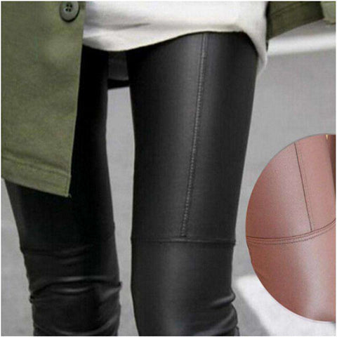 Leather Women's Leggings Solid Skinny
