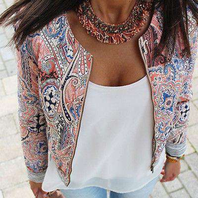 Casual Baseball Floral Jacket Women