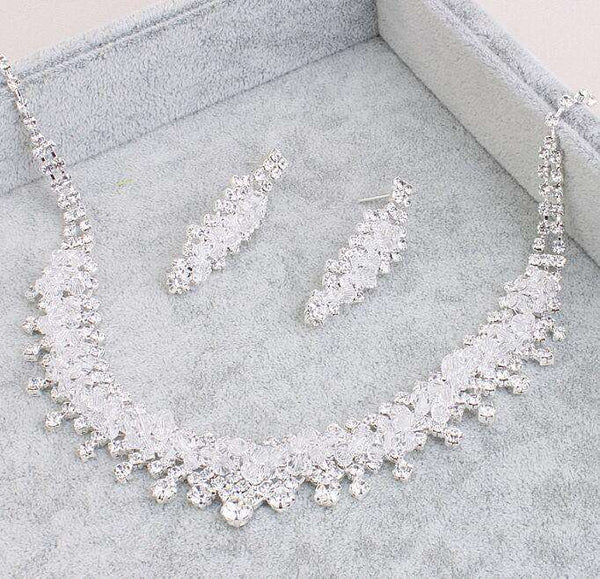 Necklace Tiaras Earrings Bridal Jewelry Sets Crystal Rhinestones