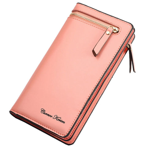 Women's Leather Wallets With Zipper Hasp Large Capacity