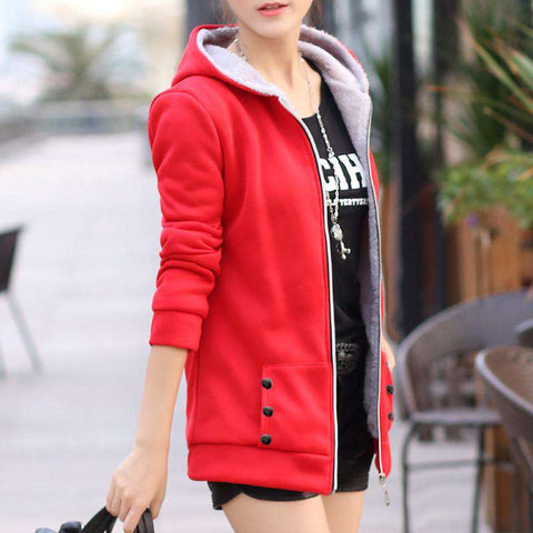 Casual Zip Up Hooded Collarless Hoodie