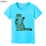 Super cute 3D little cat t shirt women lovely cool summer shirt casual top