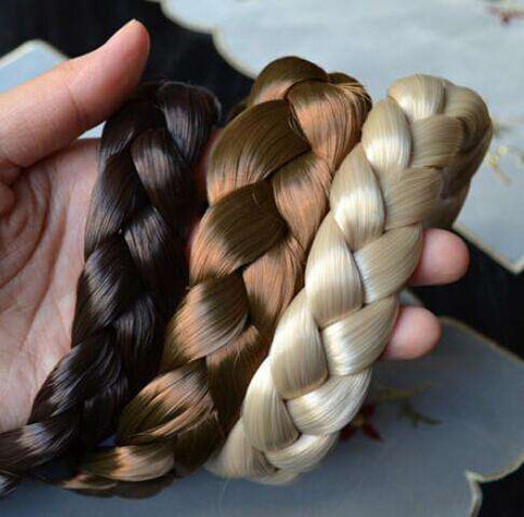 Women Wigs Braid Thick Wide Headband Hair Accessories