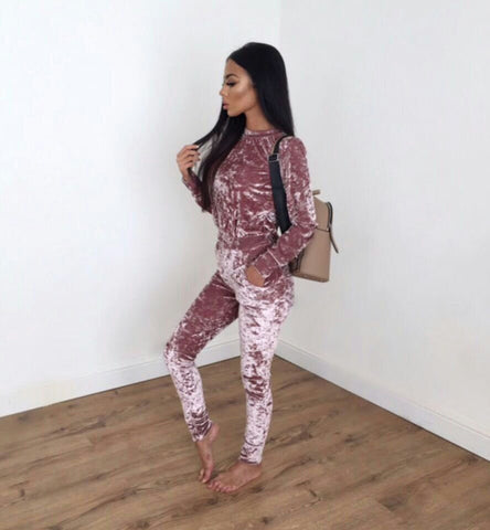 Women Turtleneck One Piece Long Pants Velvet Jumpsuits
