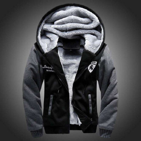 Hooded Winter Outwear Patchwork Warm Men Sweatshirts