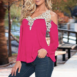 Sexy Women's V Neck Long Sleeve Off Shoulder Lace Hollow