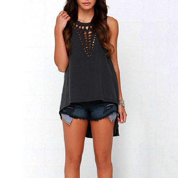 Hollow Sleeveless Shirt Casual Vest Blouse Tank Tops