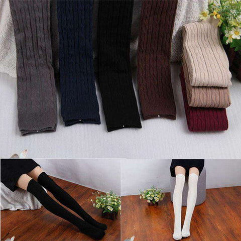 Cotton Women Knit Over Knee Thigh Stockings