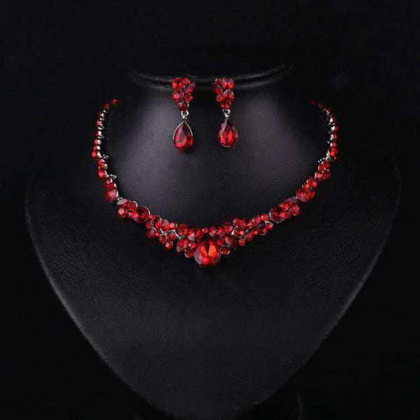Red Crystal Necklace And Earrings Delicate Elegant Wedding Party Jewelry