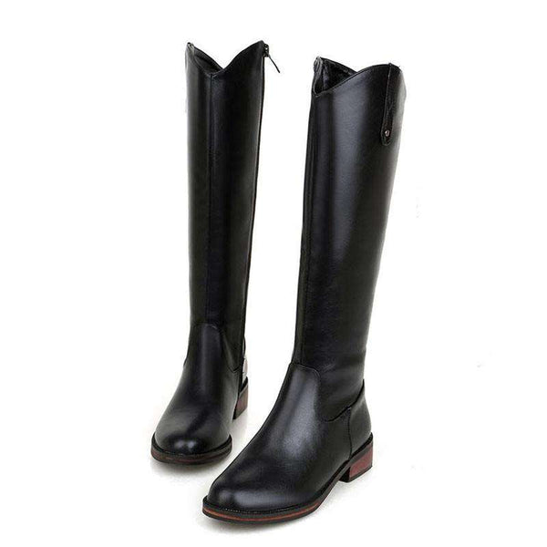 Round Toe Side Zipper Flat Boots For Women