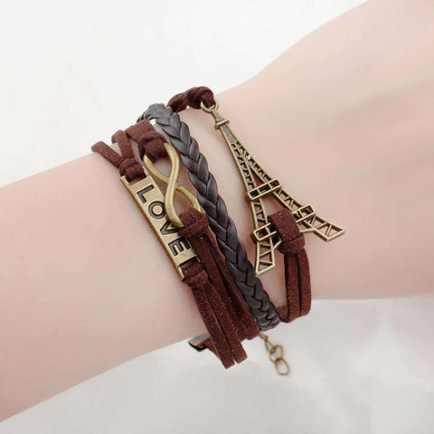 Double Leather Multilayer Charm Bracelet for Woman