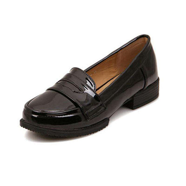 Casual Flat Leather Round Toe Loafers Shoes Women