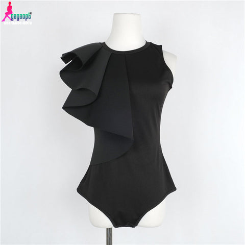 Women Bodysuits Solid Ruffles Sleeve jumpsuit