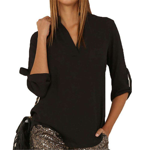 New Women V Neck Solid  Blouse Top Fashion Long Sleeve
