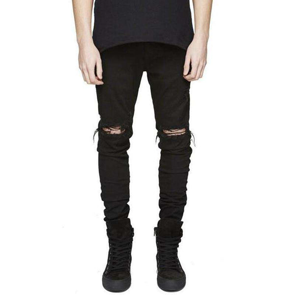 Designer Washed Distressed Denim Joggers