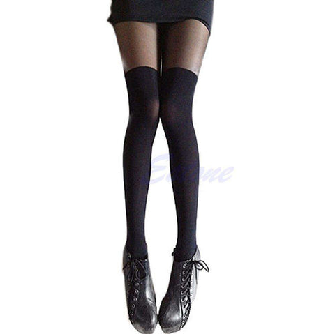 High Stocking Mock Thigh Over The Knee Ribbed Pantyhose Tight