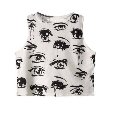 Crying Eye Print Sexy O-Neck Sleeveless Slim Crop Top White