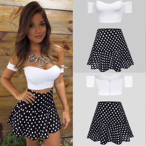 Dots Print A-line Skirt and Off Shoulder Strapless Top