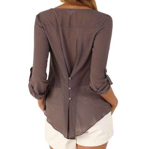 Casual Sexy V Neck Long Sleeve Blouses