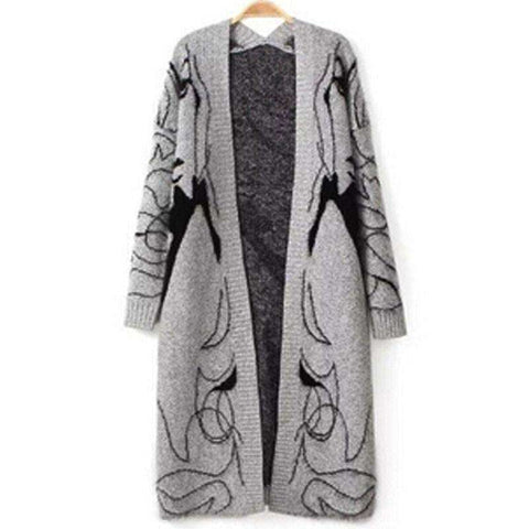 Printed Elegant Jumper Cardigan Women