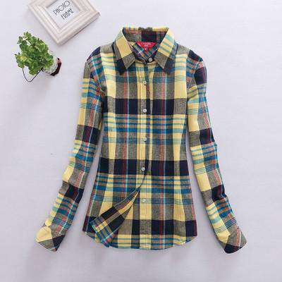 Flannel Plaid Print Blouse Summer Winter Long Sleeve Blusas Shirts