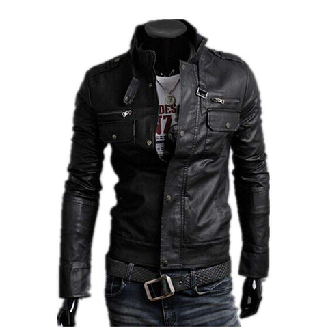 Men's Slim Motorcycle PU Leather Jacket