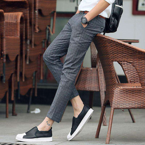 Men's Regular Straight Ankle Length Dress Pants Grey