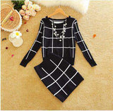 Plaid Knitwear O-neck Long Sleeve Crop Top Suit