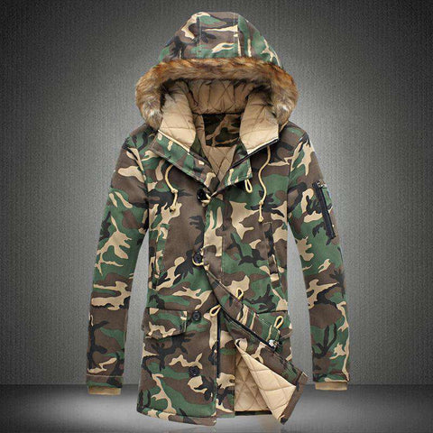 Men Thick Camouflage Down Jacket Military Down Overcoat