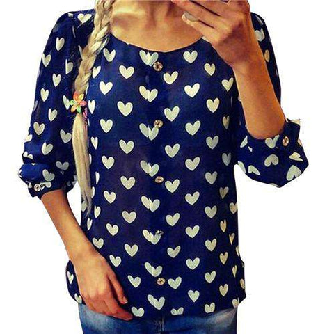 Casual Long Sleeve Shirt Heart Love Print