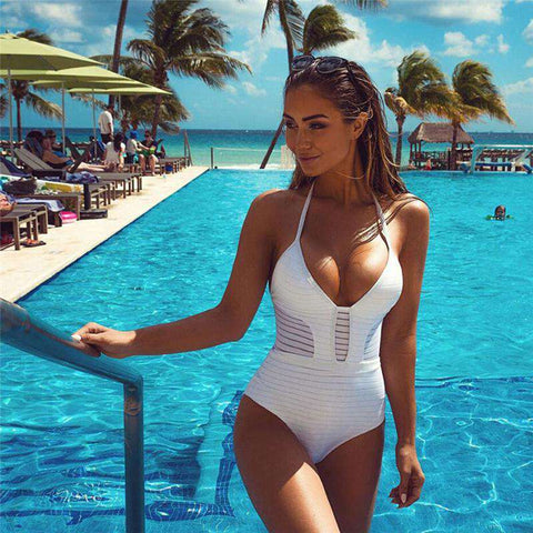 Women Sexy One Piece Push Up Beachwear Bodysuit White
