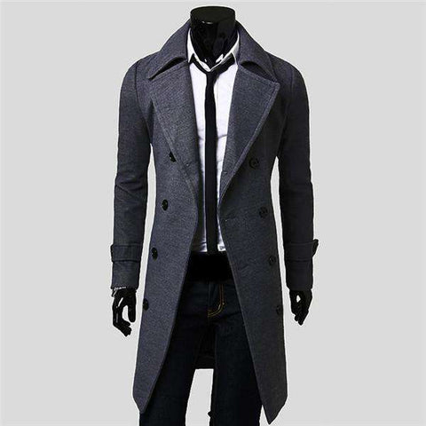 Men's Winter Warm Wool Blend Trench Coat Double Breasted Long