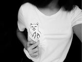 T-Shirt Women Casual Printed Pocket Cat Top Cute Tee