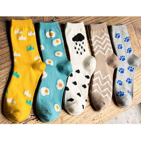 Cartoon Egg Patterns Autumn Winter Women's socks