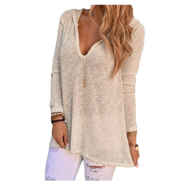 T Shirt Women V Neck Hooded Long Sleeve