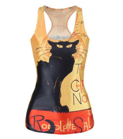 Black Cat Print Tank Tops