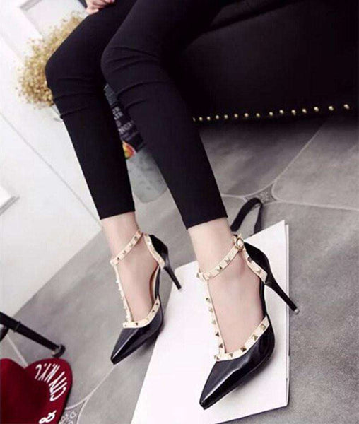 Rivet Pointed High-Heeled Shoes with Thin Straps For Women