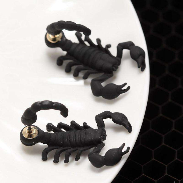 Black Silver Color bizarre Animal Scorpion Stud Earrings For Women