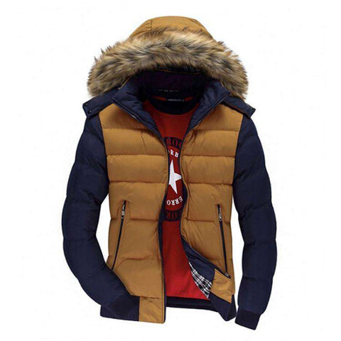 Men's Winter Jacket Thick Warm Hooded Coats Casual Down Cotton
