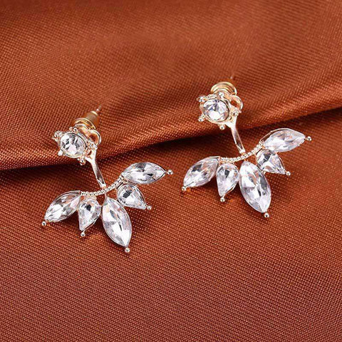 Crystal 3 Colors Rose Gold Ear Cuff Clip Leaf Stud Earrings For Women