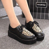 Creepers Shoes Woman Lace Up Flats Shoes Creepers Platform