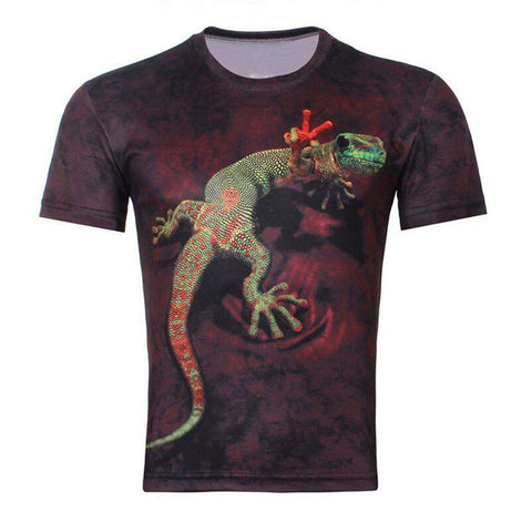 Men 3D Animal Printed Short Sleeve