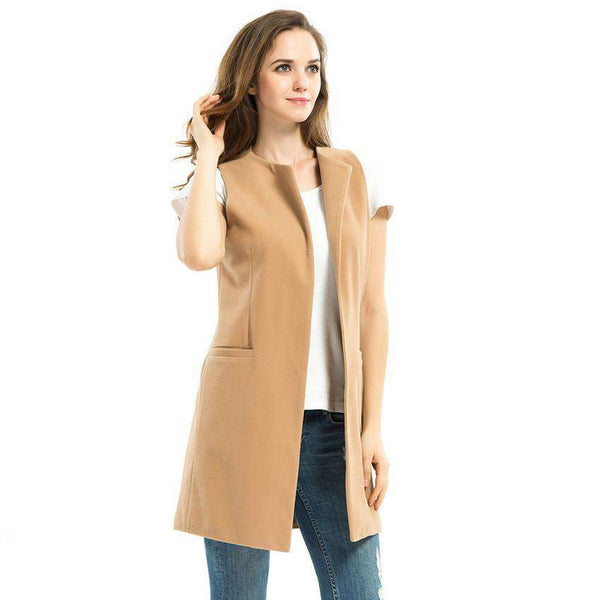 Ladies Winter Long Camel Vest Sleeveless Jacket