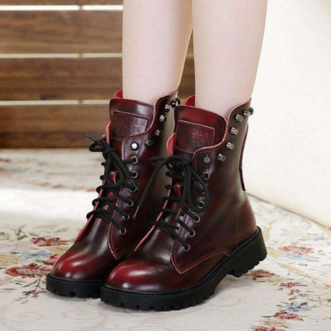 Leather Women Boots Rivets Fashion