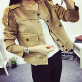 Retro Military Green Jacket Casual Suede Outerwear Women